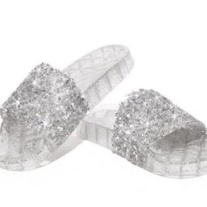 Silver Clear Jelly Sandals Size 6 Adult Sparkle